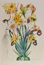 """SALVADOR DALI """"Daffodils of Love"""" HAND SIGNED COA Surrealistic Flowers Etching"""