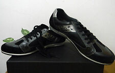 Mondo Black Silver Mens Sneakers Suede Leather Soft Shoes Size EU 45 US 12 NEW