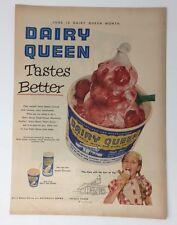 Original Print Ad 1953 DAIRY QUEEN Tastes Better June Is Month DQ Sundae