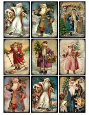 9 Christmas Vintage Victorian Santa Hang Tags ATC Scrapbooking (380)