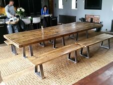 Industrial Style Dining Table - Steel Base - Bespoke - from 5ft -12ft