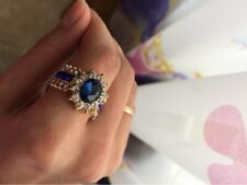 Gold Filled Blue Cubic Zirconia White Crystal Cocktail Dress Ring Size 7