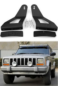 "LED Light Bar Mounting Brackets 52"" & 50"" Curved for Jeep Cherokee XJ 1984-2001"