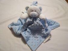 BLANKETS & BEYOND White Teddy Bear Blue Minky Dot Blanket Lovey NuNU Pacifier