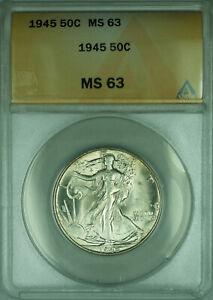 1945 Walking Liberty Silver Half Dollar 50c Coin ANACS MS-63 (A)
