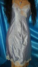 Nassglänzendes Nylon Glanz Spitzen Unterkleid ca. M blau/beige Negligee  (K109)