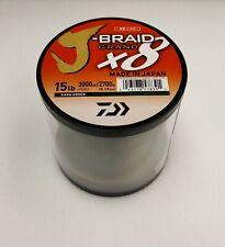 Daiwa J-Braid x8 GRAND Braided Line DARK GREEN 15lb, 3000yd - JBGD8U15-3000DG