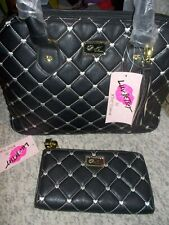 Betsey Johnson Betseyville Quilted Heart Tote Bag Wallet Matching Set Blk Cream