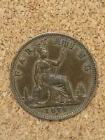 1874 Queen Victoria 1 Farthing - Hard to Find Bronze Coin