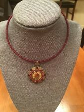Michal Negrin Victorian Style Necklace Rose Locket Ruby Red Swarovski Crystals