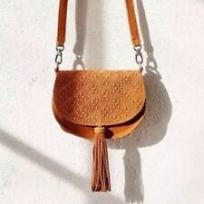 NWT Ecote Urban Outfitters Tan Suede Geometric Detail Tassel Messenger Purse