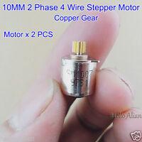 2PCS 2 Phase 4 Wire Mini Stepper Motor 10MM Micro Copper Gear Schrittmotoren
