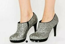 BNWT NEW LOOK SILVER GLITTER SEQUIN PLATFORM SHOE ANKLE WIDE FIT BOOTS UK SIZE 3