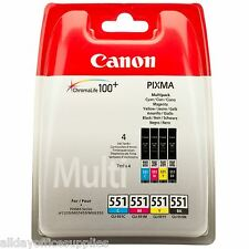 Genuine Canon CLI-551 BK/C/M/Y 4 Colour Ink Cartridge Multipack For PIXMA MG5650