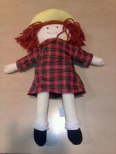 """Madeline Doll Plush red plaid dress & Yellow Hat by Eden Measures 15"""" 1994 toy"""