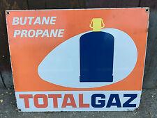 Old grande plate enamelled advertiser TOTAL GAZ pub vintage