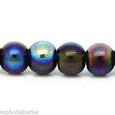 30 perles de verre 6 mm noir irisé