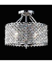 4-Light Modern Round Chrome Crystal Flush Mount Chandelier Pendant