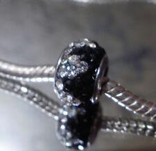 Edelstahl Pave Bead Glitzer Strass Fb Schwarz Kristall Silber für Armband 1620