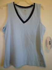 New Athletic Works M 8 10 blue stretch workout v-neck sleeveless tee tank top