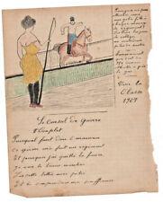 1907 military soldier manuscript lyrics WAR COUNCIL sexy drawing woman taming so