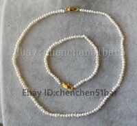 """echtes kultiviertes kleines 2-3mm weiß Süßwasser perle halskette armband 18/7.5"""""""