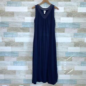 Chicos Crinkle Gauze Guilana Maxi Dress Blue Flowy Crochet Neck Womens 1 Medium