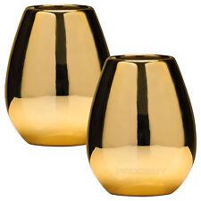 Set di 2 in ceramica lavandino BICCHIERI TAZZE D'ORO SPAZZOLINO porta accessori