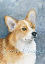 Art Print 5x7 Dog 89 Corgi blue from original painting by L.Dumas