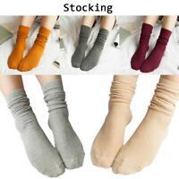 Women Fall Winter Pure Retro Cotton Thin Socks Soft Solid Color Casual Stockings