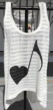 THE CLAS-SIC NWT TANK TOP SIZE M LISTEN TO MY HEART W/BLING MUSICAL NOTE HEART