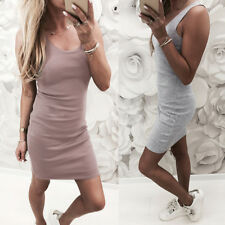 UK Womens Sleeveless Mini Dress Vest Summer Beach Long Tops T Shirt Pencil Dress