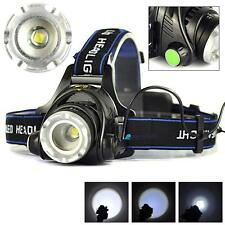 2000LM Zoomable X-XM-L T6 LED 18650 HeadLamp Torch HeadLight Rechargeable PK