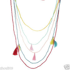 New beads Lady woman Statement crystal multi chunky chain charm  necklace e737