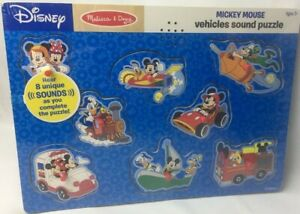 Disney Melissa & Doug MICKEY MOUSE Vehicle Sound Puzzle 8 Wooded Pieces w/Pegs