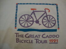 """Vintage """"The Great Caddo Bicycle Tour"""" 1991 Exercise White T Shirt Men's Size L"""