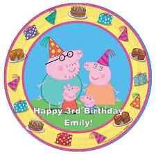 "Peppa Pig Y Familia Personalizado Cake Topper 7.5 ""Comestibles De Oblea De Papel Cumpleaños's"