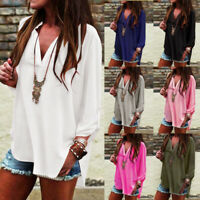 UK Womens Tee Summer T Shirt Asymmetric Ladies Blouse Chiffon Long Sleeve Tops