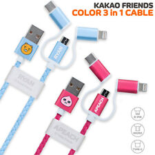 Genuine Kakao Friends 3 in 1 Charge Cable 8 Pin/Micro 5 Pin/Type-C Cable iPhone