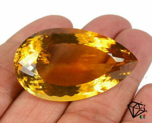VVS 46+Ct Natural Certified Citrine Super Deluxe Quality Unheated Gemstone 30mm