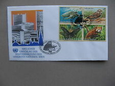 UNITED NATIONS VIENNA, cover FDC 1998, block of 4 turtle owl butterfly red panda