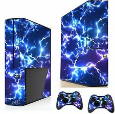 Blue Electric Sticker/Skin xbox 360e Console & Remote controller xsk16