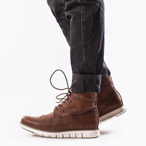 Men's High Top Ankle Leather Boots Casual Formal Dress Shoes Oxford Lace Up Flat