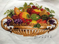"""New Completed finished cross stitch""""FRUITS BASKET""""home decor gift sale"""