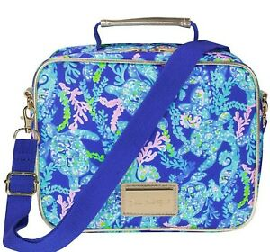 NEW Lilly Pulitzer INSULATED LUNCH BAG Turtle Villa Blue Pink