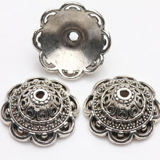 10Pcs Tibet Silver Plated Flower Spacer Bead Caps Jewelry Findings DIY 15x7mm