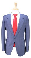 * ERMENEGILDO ZEGNA * Vintage 70's Sky Blue w/ Red Stripes 2-Btn Wool Suit 36R