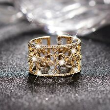 14K Yellow Gold filigree wide band Simulated Diamond Ring open free size fashion