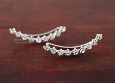 Crawler Cuff Earrings Christmas Gift A1775 925 Sterling Silver White Cz Climber