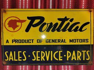 VINTAGE PONTIAC PORCELAIN SIGN SALES SERVICE PARTS GENERAL MOTORS GTO CHEVROLET